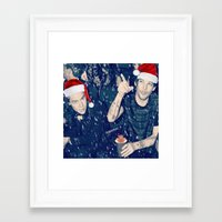 larry stylinson Framed Art Prints featuring Larry Stylinson Funny Cookie Christmas by girllarriealmighty
