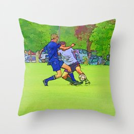 The Big Steal - Soccer Players Throw Pillow