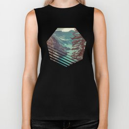Vintage Blue Crater Lake and Trees - Nature Photography Biker Tank