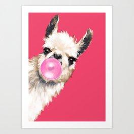 Bubble Gum Sneaky Llama in Red Art Print