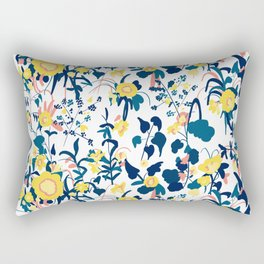 Buttercup yellow, salmon pink, and navy blue flowers on white background pattern Rectangular Pillow