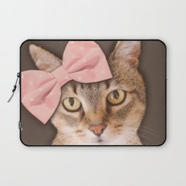 Brown Tabby Cat with Soft Pink Bow Laptop Sleeve