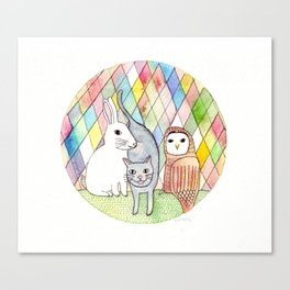 rabbit, cat, owl Canvas Print