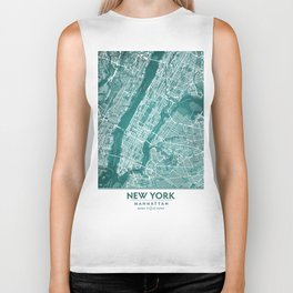 Turquoise Teal Wall Art Showing Manhattan New York City, Brooklyn and New Jersey Biker Tank