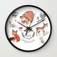 camp Wall Clocks featuring Camp Companions by Brooke Weeber