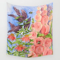 Cottage Garden Butterfly Bush Watercolor Illustration Wall Tapestry
