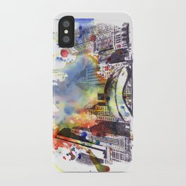 Chicago Bean Cityscape Watercolor Painting iPhone Case