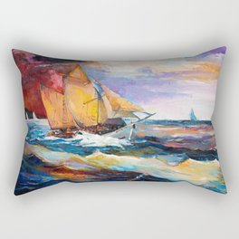 Fishing boats in the sea at sunset Rectangular Pillow