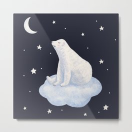white bear on the cloud Metal Print