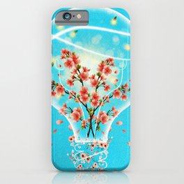Bright Idea Flowers, Lightning Bugs and Moth in Light Bulb Surreal Art iPhone Case