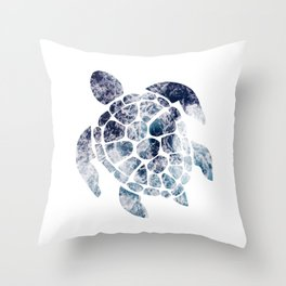 Sea Turtle - Blue Ocean Waves Throw Pillow