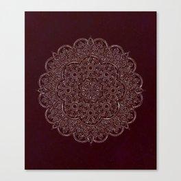 Royal Burgundy Rose Gold Marble Mandala Canvas Print