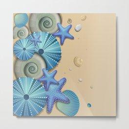SEA SHELLS ON THE BEACH Metal Print