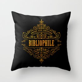 Gold Bibliophile on Black Throw Pillow