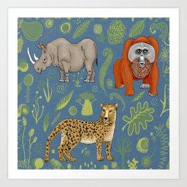 endangered animals, black rhino, amur leopard, bornean orangutan Art Print