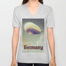 Germany Blimp vacation poster Unisex V-Neck