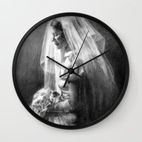 bride Wall Clocks featuring Bride by Hugo F G