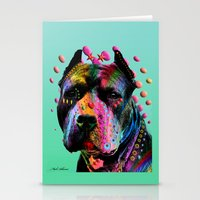 pit bull Stationery Cards featuring pit bull  by mark ashkenazi