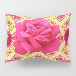 PINK & RED GARDEN ROSES PATTERN PINK ABSTRACT Pillow Sham
