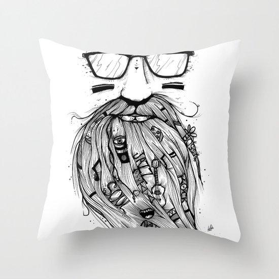 Beard Me Some Music (Black & White) Throw Pillow