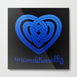 UNCONDITIONALLY in blue on black Metal Print