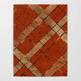 Retro pastel plaid pattern N8 Poster