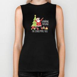 Dabbing Around The Christmas Tree Santa Claus Xmas Biker Tank