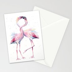 Two Flamingos Watercolor Flamingo Love Stationery Cards