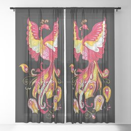 Firebird - Fantasy Creature Sheer Curtain