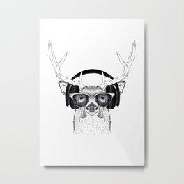 Deer listening the Music using Headphone Metal Print