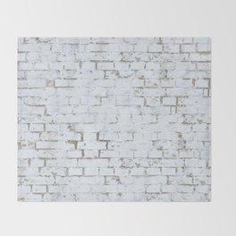 Vintage White Brick Wall Throw Blanket