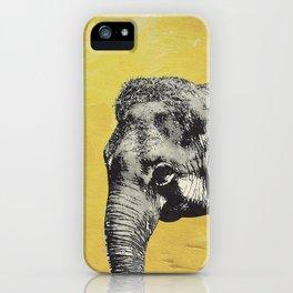 Elephant on yellow iPhone Case