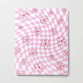 Red Flower on Pink Checker Swirl Warp Metal Print