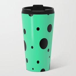 Black Bubbles On Green Travel Mug