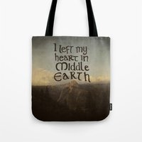 lotr Tote Bags featuring I Left My Heart in Middle Earth by Leah Flores