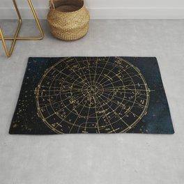 Golden Star Map Rug