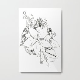 Steampunk Flower Metal Print