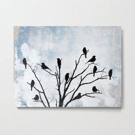 Blackbirds Tree Modern Cottage Chic Farmhouse Home Decor A503 Metal Print