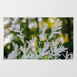 White Oleander Bokeh Rug