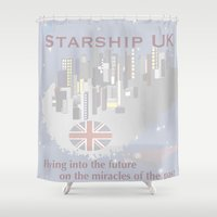 uk Shower Curtains featuring Starship UK by El-A