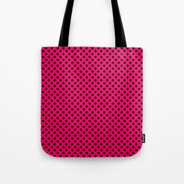 Small Black Crosses on Hot Neon Pink Tote Bag