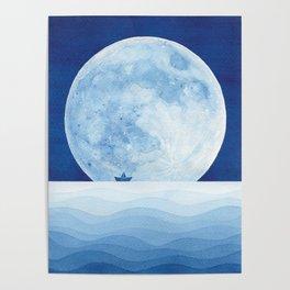 Full moon & paper boat Poster