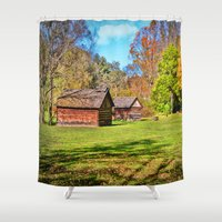 allyson johnson Shower Curtains featuring Johnson City Tennessee Cabins by Mary Timman