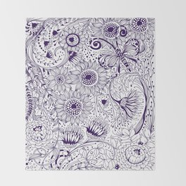 Floral doodles Throw Blanket