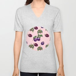 Watercolor plums Unisex V-Neck
