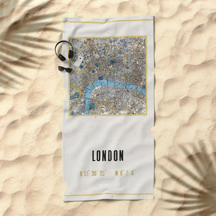 Vintage London Gold Foil Location Coordinates with map Beach Towel