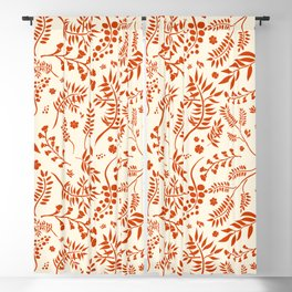 Botanical Floral Pattern with branches, leaves and berries in orange palette Blackout Curtain
