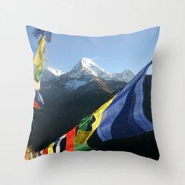 Nepal Buddhist prayer flags with mountain peaks Throw Pillow