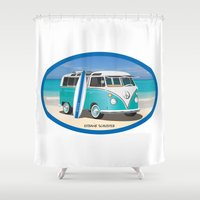surfboard Shower Curtains featuring Teal Hippy Bus with Surfboard Oval by FrankSchuster