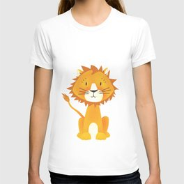 Cute lion illustration on white background T-shirt